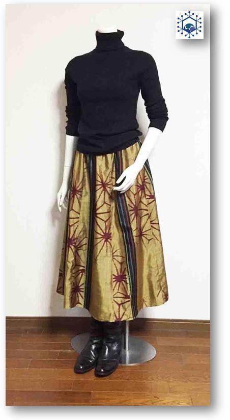 104 銘仙でスカートを作ります。6枚はぎギャザーフレアスカート | ハンドメイドマーケット minne