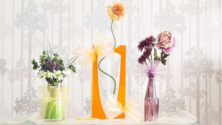 Proměňte vázy s květinami v luxusní dekoraci: Ozdobte je organzou! - Hobby