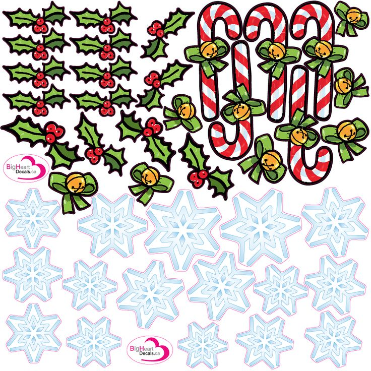 Christmas Accessory Pack from Big Heart Decals Inc. Made in Canada. Fabric stickers or wall decals for nursery or kids playrooms. Sticks on walls, windows and flat surfaces. Movable, removable, no residue. Price: $40.00 - 4 square foot sheet