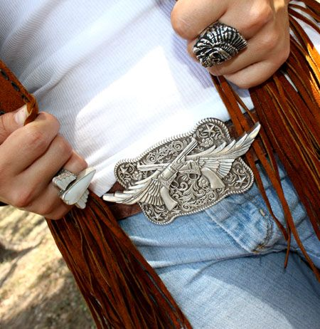 Love the guns & wings #belt buckle from the #Junk Gypsies.