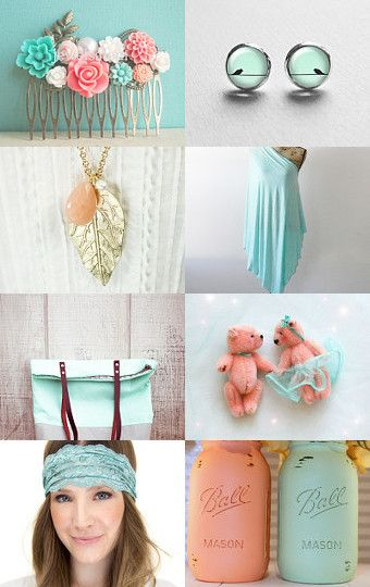 Peach - Mint And Coral  by Needle And Line on Etsy--Pinned with TreasuryPin.com