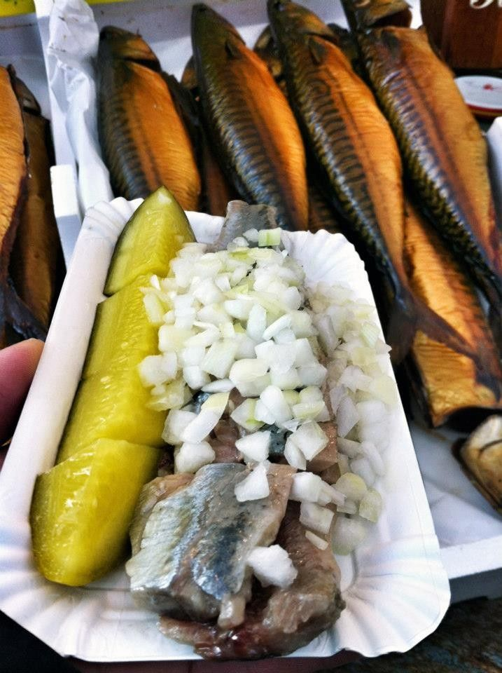 Herring - I wasn't a fan myself but I tried it at the Albert Cuyp Market, a street market in Amsterdam via @rtwgirl > http://www.rtwgirl.com/dutch-snacks-munchies-amsterdam
