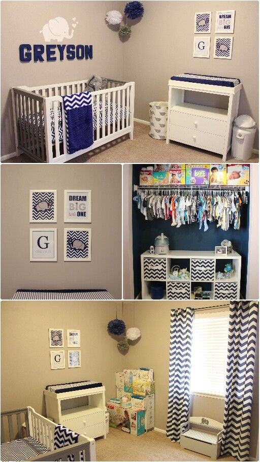 Greyson S Nursery Navy Blue Gray Elephant Chevron Themed