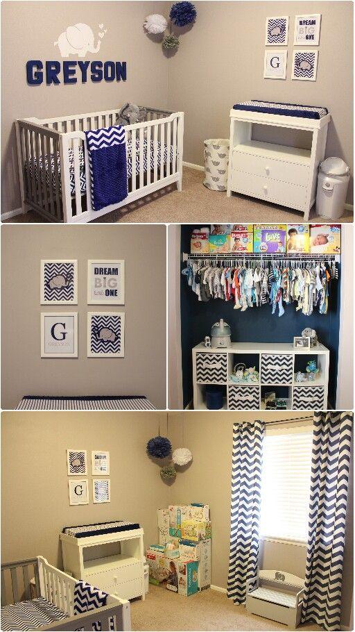Greyson's Nursery Navy Blue, gray, elephant, chevron themed