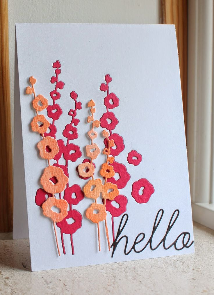 handmade card from Picturing the World: Memorybox ... dlightful hollyhocks die cuts in  warm colors ... some embedded ... some  popped ... luv the look!