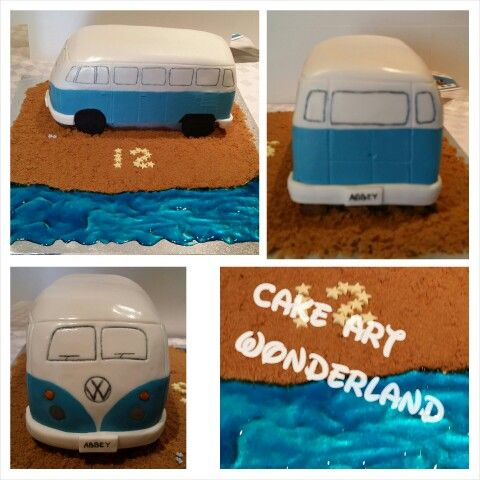 A special VW Kombi Van cake for Abbey. All decorations are edible. Had to use templates to get the shape right. Lots of fun making this one