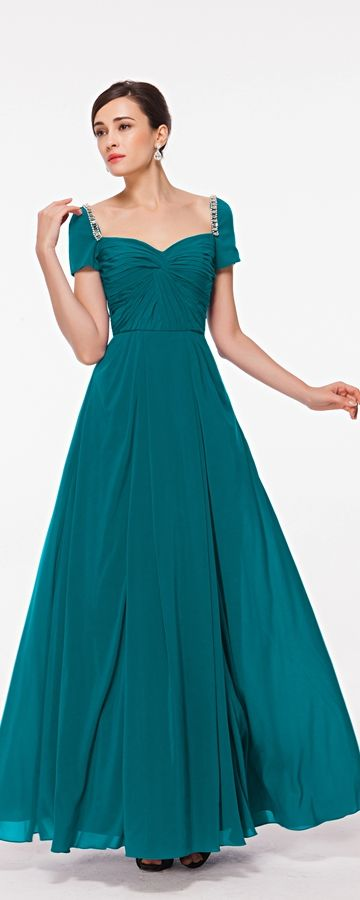 Modest prom dress with sleeves teal prom dresses formal gowns evening dresses