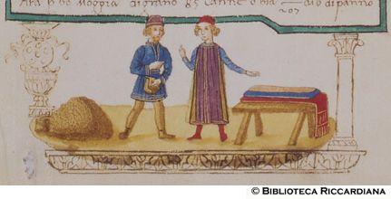 Ricc. 2669, FILIPPO CALANDRI, Trattato di aritmetica Sec. XV, fine; Firenze; bottega di Boccardino il vecchio.  Baratto di panno con grano, c. 68r