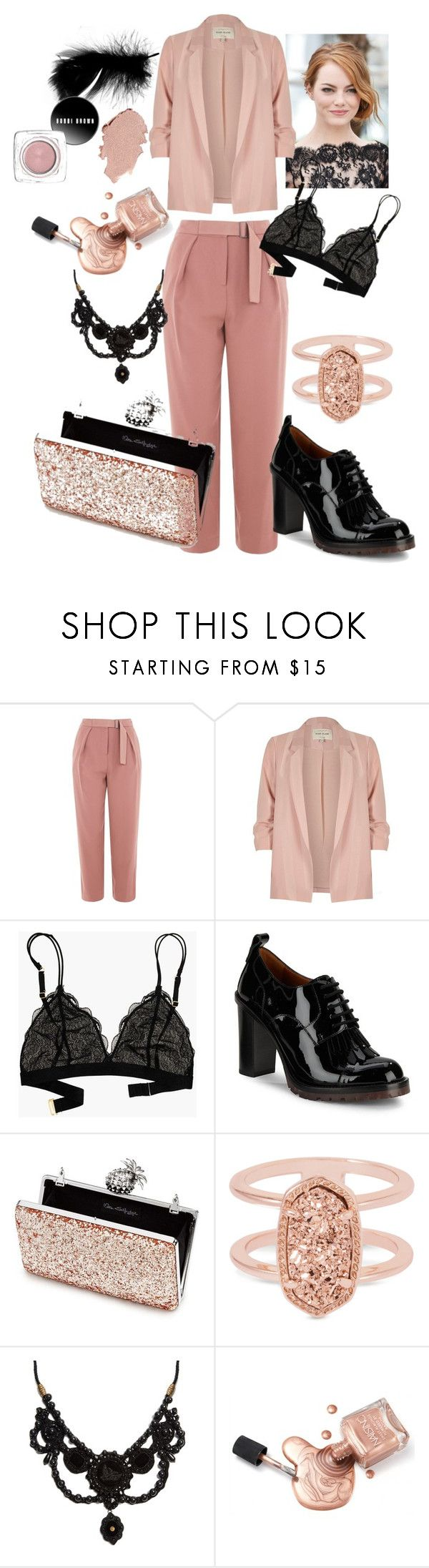 """black, pink suit"" by anaclaraberns ❤ liked on Polyvore featuring Topshop, River Island, Madewell, Valentino, Miss Selfridge, Kendra Scott and Gucci"