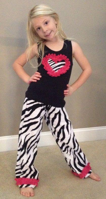 Girls Zebra Pajamas / Pajamas for Girls / by AnneMaddoxBoutique, $34.00