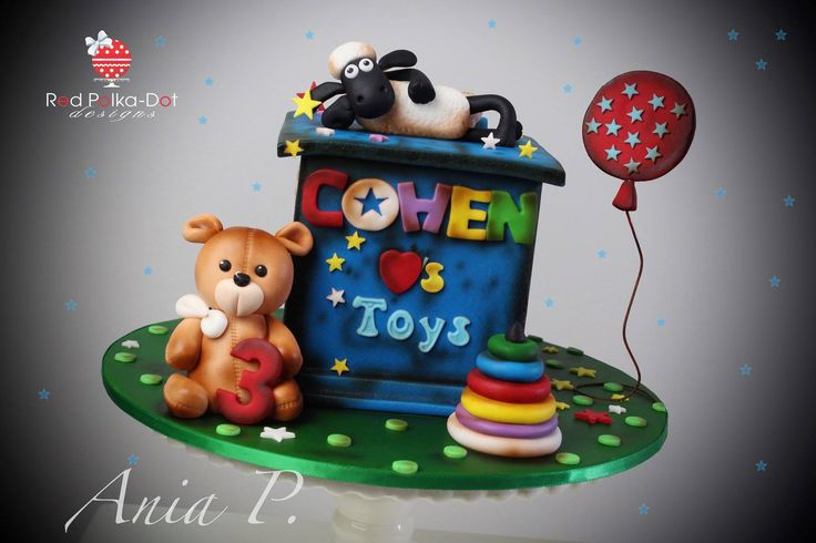 Shaun the Sheep toy box cake By Red Polka dot Designs