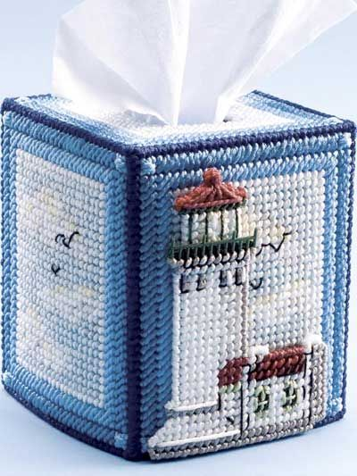 Plastic Canvas - Tissue Topper Patterns - Boutique-Style Patterns - Lighthouse Tissue Topper