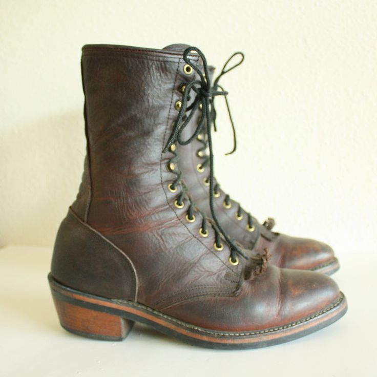 Vintage chippewa lineman Laced Up Logger boots. $128.00, via Etsy.