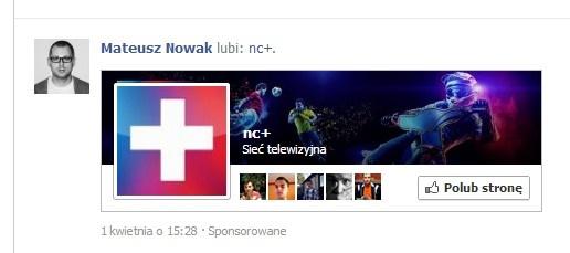 Facebook proponuje administratorom stron wiele form reklamowych. Jedną z nich jest wyświetlanie użytkownikowi informacji o tym, że reklamującą się stronę lubi ktoś z jego listy znajomych. http://www.spidersweb.pl/2013/04/nc-jak-zrazic-do-siebie-klientow-przez-nachalna-reklame-na-facebooku.html