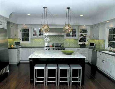 Kitchen With White Cabinets Black Counters Green Subway