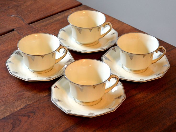 Vintage Community China Deauville Set of 4 Teacups and Saucers, Bavarian Art Deco Silver and Ivory Bone China circa 1933 by Trashtiques on Etsy https://www.etsy.com/ca/listing/498148764/vintage-community-china-deauville-set-of