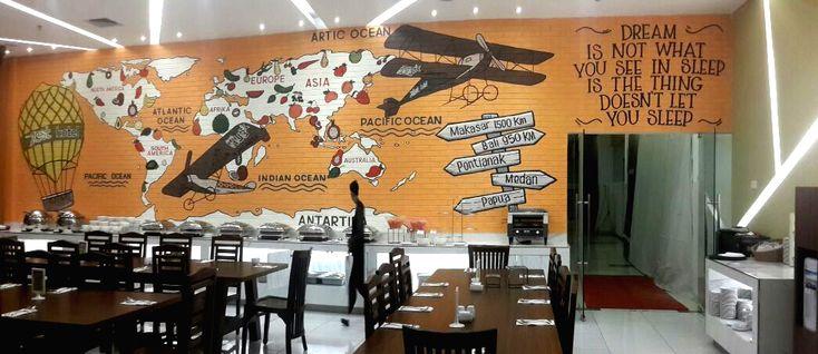 mural, jasa mural, jasa lukis dinding, jasa mural restoran, mural restoran, mural hotel, zest hotel, mural restoran bernuansa oranye, mural peta dunia-Mural by iMural