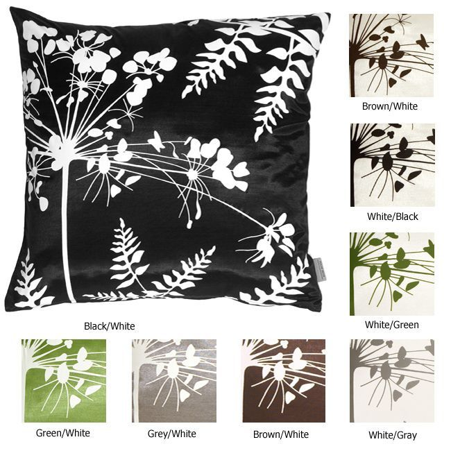 Spring Flower Small Throw Pillow (Gray - White Print), Grey, Size 16 x 16 (Polyester, Floral)