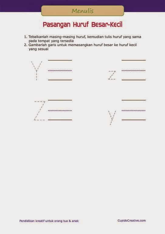 latihan menulis PAUD (balita/TK), pasangan huruf besar dan huruf kecil, A sampai Z