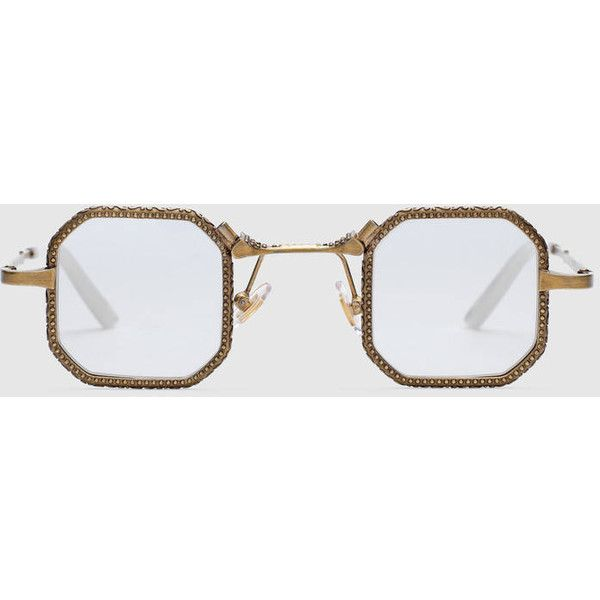 Gucci Square-Frame Metal Glasses ($515) ❤ liked on Polyvore featuring men's fashion, men's accessories, men's eyewear, men's eyeglasses and gucci mens eyeglasses