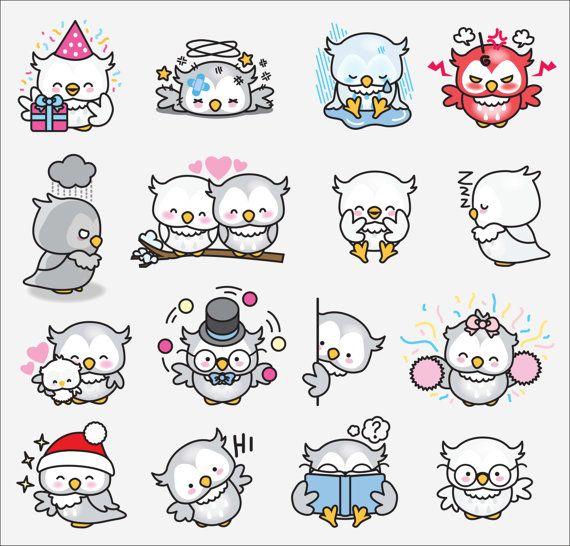 Premium Vector Clipart - Kawaii Ooki the Owl - Cute Owls Clipart Set - High…