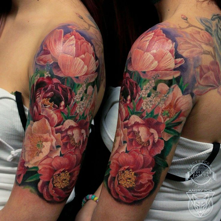 Цветы - розовые пионы, тату на плече у девушки (Flowers - pink peony/paeony) by Angry Fox Tattoo
