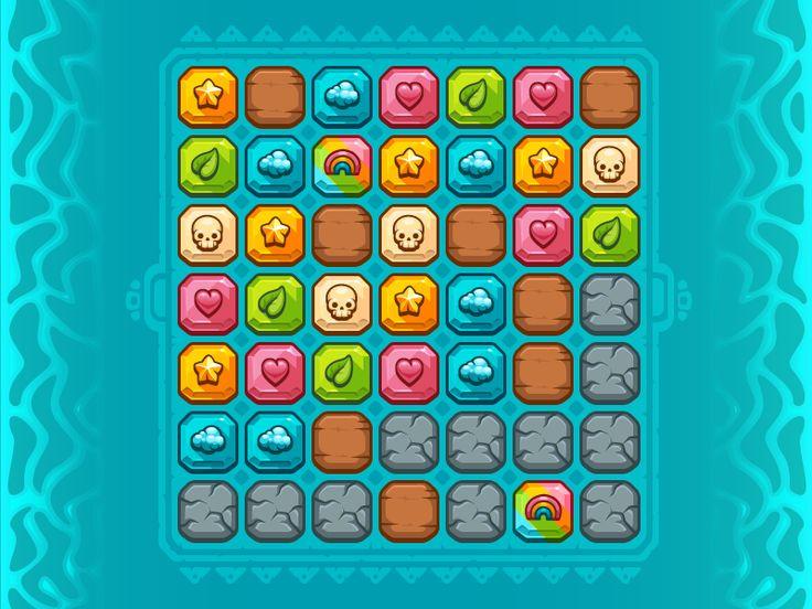Match 3 Jewel Game Pieces Set