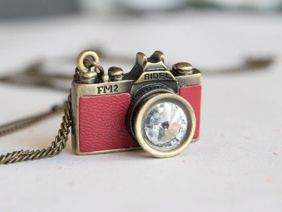 Go Shooting-Red Leather Camera Necklace- ESTY