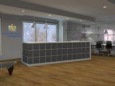 Bluestone tiled desk with wooden floor boards creates a beautiful reception in an open plan office space.