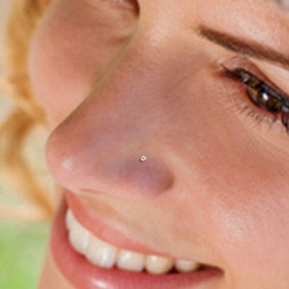 Teeny Tiny 1mm CZ Sterling Silver Nose Stud by LEMONCAKEJEWELRY
