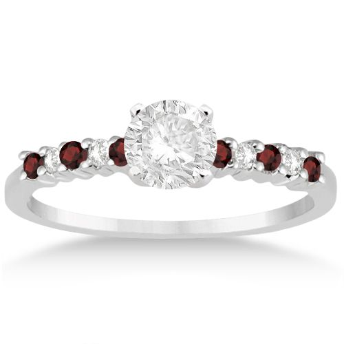 Petite Diamond & Garnet Engagement Ring 14k White Gold (0.15ct) -Allurez.