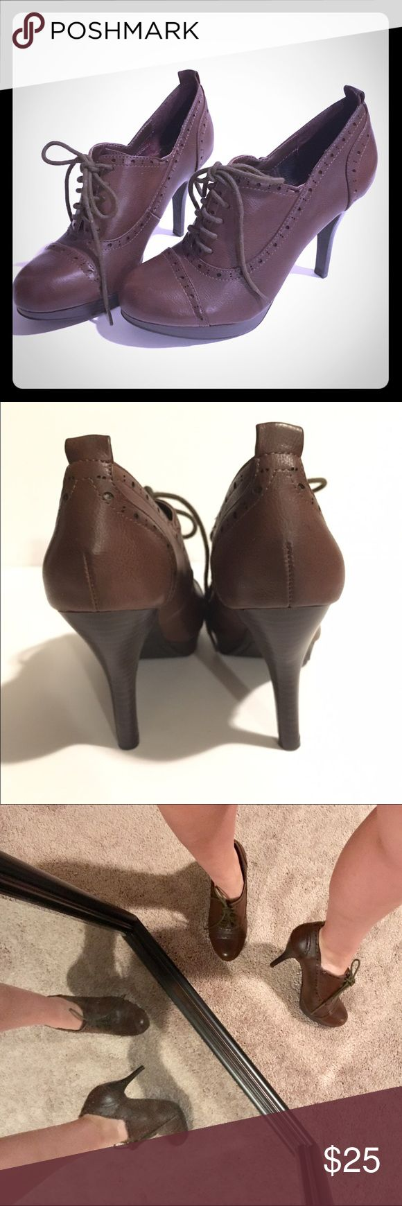 """Cute brown tie-up Fergie shoes Size 8. Brown lace up """"Fergalicious"""" heels. Never worn. Really cute on! Fergalicious Shoes Heels"""