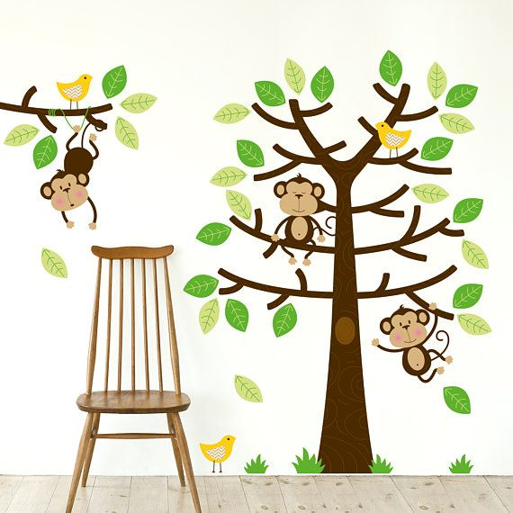 NEW Monkey Tree Wall Sticker  Cheeky Monkeys Children Wall