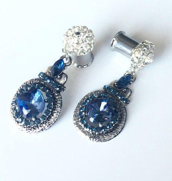 Azul real cuelgan calibres tapones para los oídos 8g por EdgySister