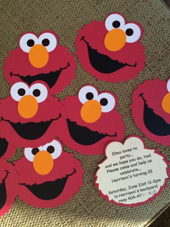 Elmo birthday or baby shower invitations (set of 45) (Plain white 5x7 envelopes INCLUDED)