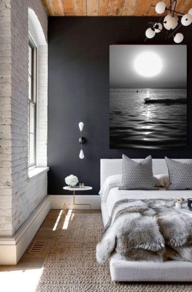 Reise-Poster, Urlaub Dekor, Sonnenuntergang Fotografie, schwarz weiße Wandkunst, Ocean Art, Sea Print, Badezimmer Wand Dekor, Housewarminggeschenk, Leinwand
