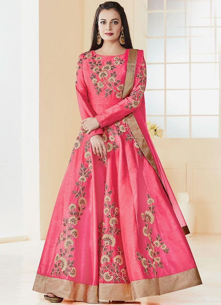 Diya Mirza Art Silk Floor Length Anarkali Suit