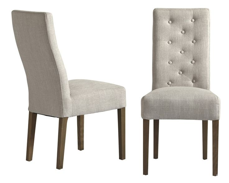 Marlena stol - Lækker polstret spisebordsstol med lysegråt betræk ...