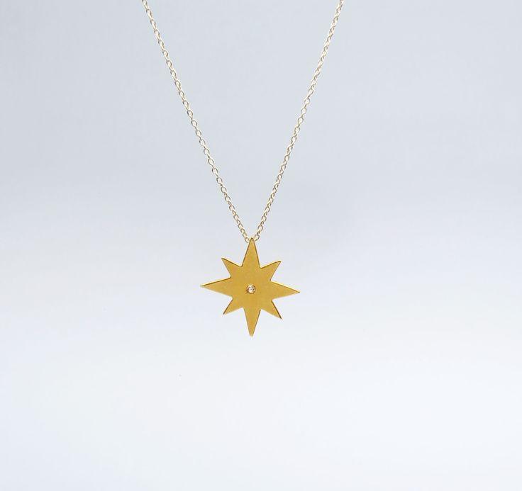 Fio Estrela 8 Pontos Prata com Banho de Ouro +info: joias.she@gmail.com