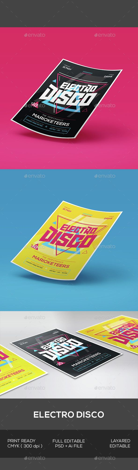 Electro Disco Flyer — Photoshop PSD #grunge #brush • Available here → https://graphicriver.net/item/electro-disco-flyer/15306095?ref=pxcr