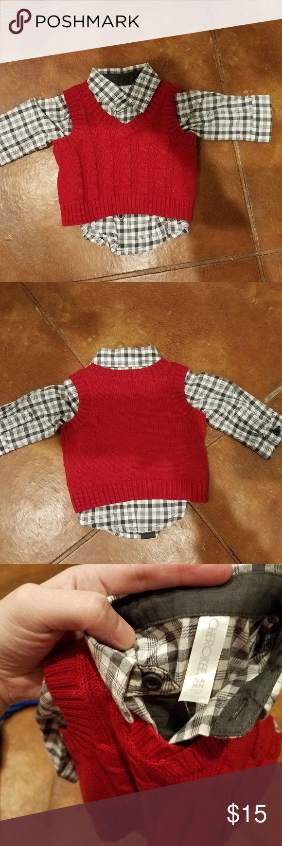 Cherokee newborn vest and shirt set Adorable Cherokee brand vest and shirt set in NB size. Worn once, so like new. Perfect for newborn photos! Cherokee Shirts & Tops