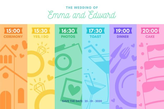 Download Colorful Wedding Timeline In Lineal Style For Free Boda Linea Del Tiempo Vector