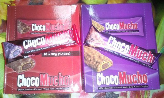 choco mucho dark chocolate caramel wafer roll cereal crispes and milk chocolate caramel wafer roll cereal crispes <3