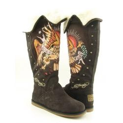 @Overstock - Cozy faux fur lining lends added style and warmth to these knee-high boots from Ed Hardy. The signature tattoo-inspired design lend edgy style to these brown suede boots.http://www.overstock.com/Clothing-Shoes/Ed-Hardy-Womens-Brown-Faux-Fur-lined-Boots/6336051/product.html?CID=214117 $112.99