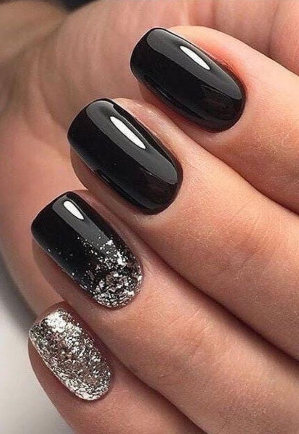 kurze schwarze Nägel, schwarze Nägel, kurze schwarze quadratische Nägel, schw…