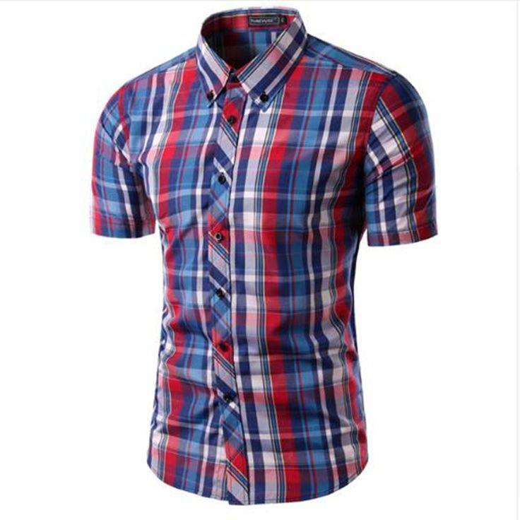 Mens Plaid Shirt Camisas 2016 New Arrival Men's Fashion Plaid Short Sleeve Shirt Male Casual High Quality Shirt 16 Colors