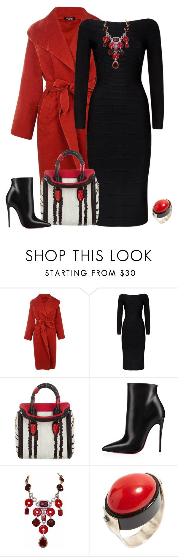 """outfit 6730"" by natalyag ❤ liked on Polyvore featuring Boohoo, Hervé Léger, Alexander McQueen, Christian Louboutin and Carlo Zini"