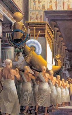 Reposoir de la Barque - Le Temple Egyptien Procession de la barque d'Amon. Hors Série Science et Vie Junior, L'Égypte,
