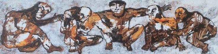 "Kell Jarner 2016. ""Mandesnak"" (""Man Talk""). 100 x 26 cm."