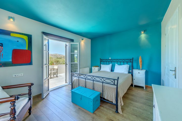 Villas for rent - Naxos island of Greece - relaxing holidays - beautiful bedroom - blue color ceiling - private swimming pool - amazing places - family alternative holiday